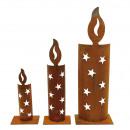 Großhandel Dekoration: Metall Kerze Stern, B10cm H44cm, rost, mit ...